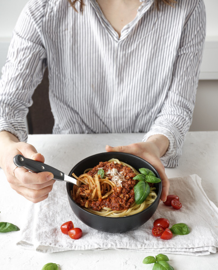 Spaghetti mit Tempeh-Bolognese
